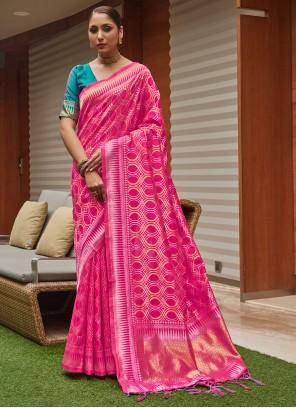 Art Silk Weaving Pink Traditional Designer Saree
