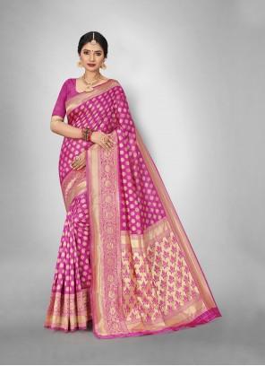 Art Silk Weaving Pink Trendy Saree