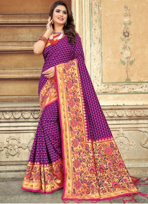 Art Silk Weaving Purple Silk Saree