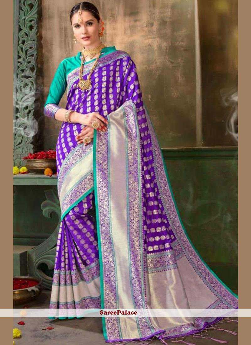 Art Silk Weaving Purple Traditional Saree