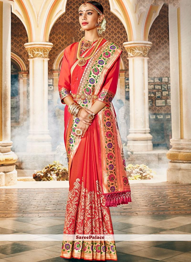 Art Silk Weaving Red Designer Saree
