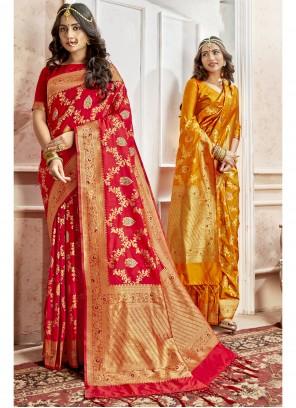 Art Silk Weaving Red Saree