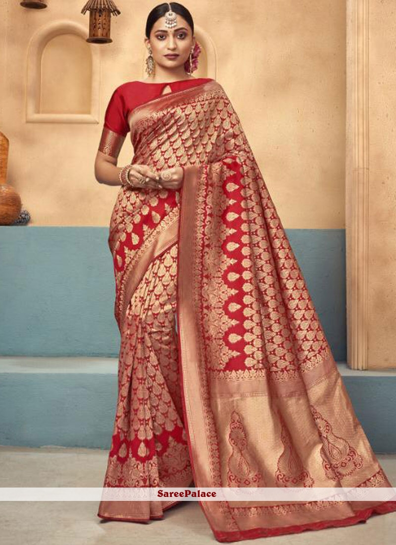Art Silk Weaving Red Traditional Saree