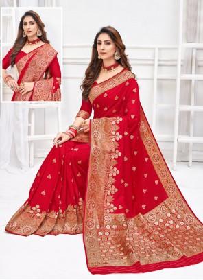 Art Silk Weaving Red Traditional Saree
