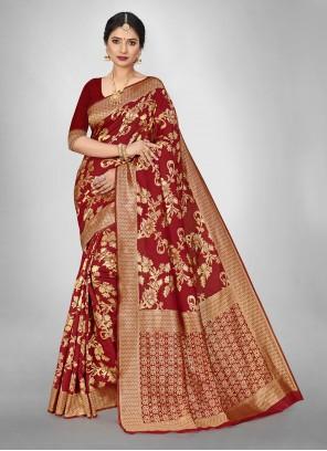 Art Silk Weaving Red Trendy Saree