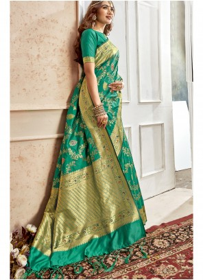 Art Silk Weaving Saree in Green