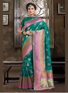 Art Silk Weaving Sea Green Traditional Designer Saree