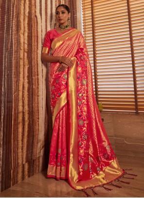 Art Silk Weaving Shaded Saree in Pink