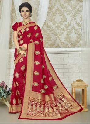 Art Silk Weaving Saree in Fuchsia