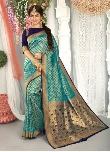 Art Silk Weaving Teal Traditional Saree
