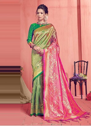 Art Silk Weaving Traditional Designer Saree in Green and Pink