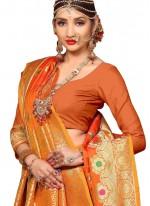 Art Silk Weaving Traditional Designer Saree in Orange