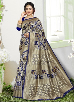 Art Silk Weaving Traditional Saree in Blue