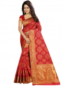 Art Silk Weaving Traditional Saree in Red