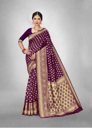 Art Silk Weaving Trendy Saree in Violet
