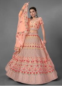 Peach Art Silk Wedding Bollywood Lehenga Choli