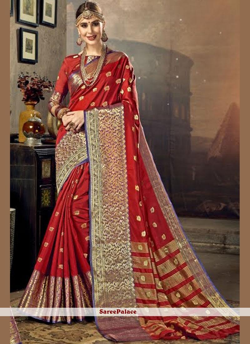 c19c477598 Buy Red Zari Work Art Silk Traditional Saree Online