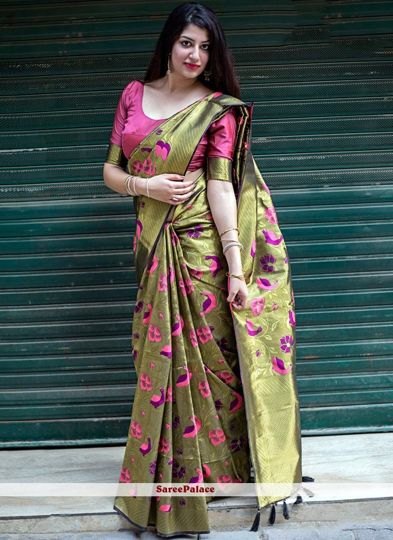 Gold Art Silk Wedding Designer Traditional Saree