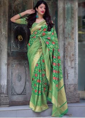 Green Art Silk Wedding Traditional Saree