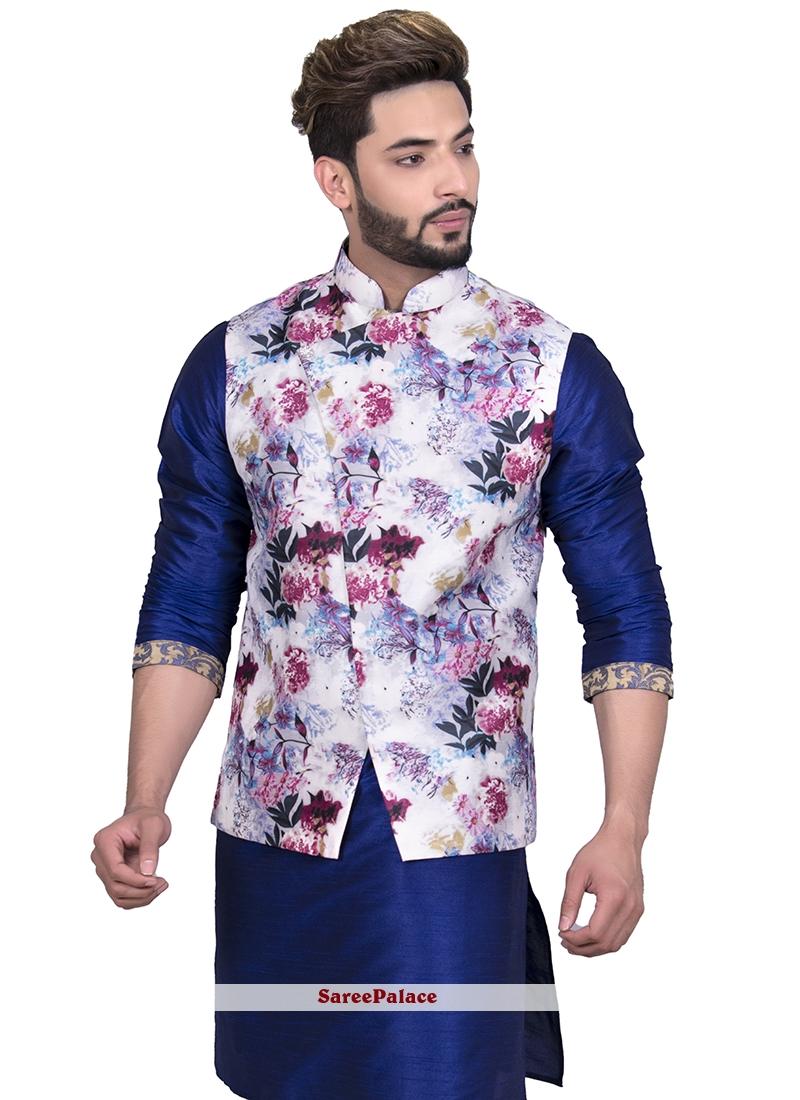 Art Silk White Floral Print Nehru Jackets