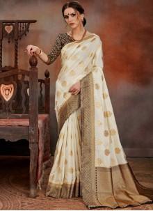 Art Silk White Weaving Traditional Designer Saree