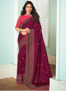 Art Silk Wine Embroidered Trendy Saree