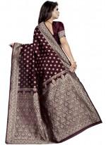 Art Silk Wine Weaving Traditional Saree