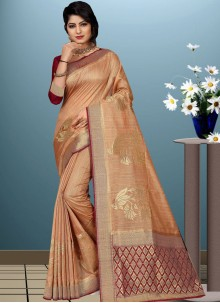 Art Silk Woven Beige Traditional Designer Saree