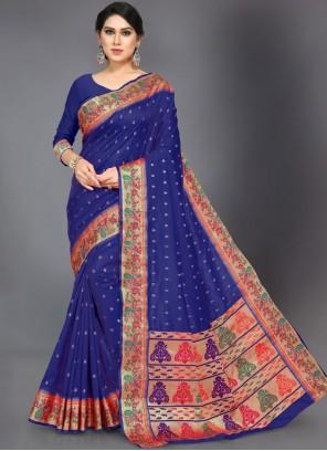 Art Silk Woven Black Traditional Designer Saree