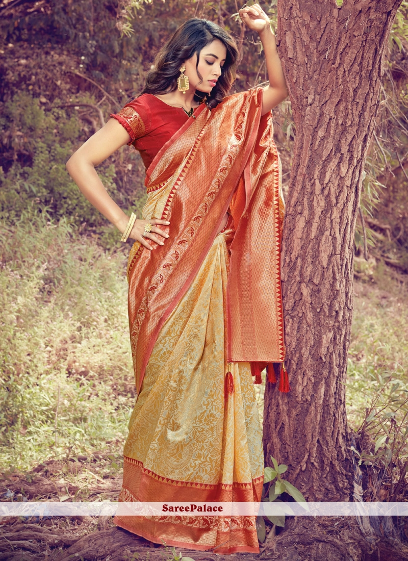 Beige Art Silk Woven Designer Traditional Saree