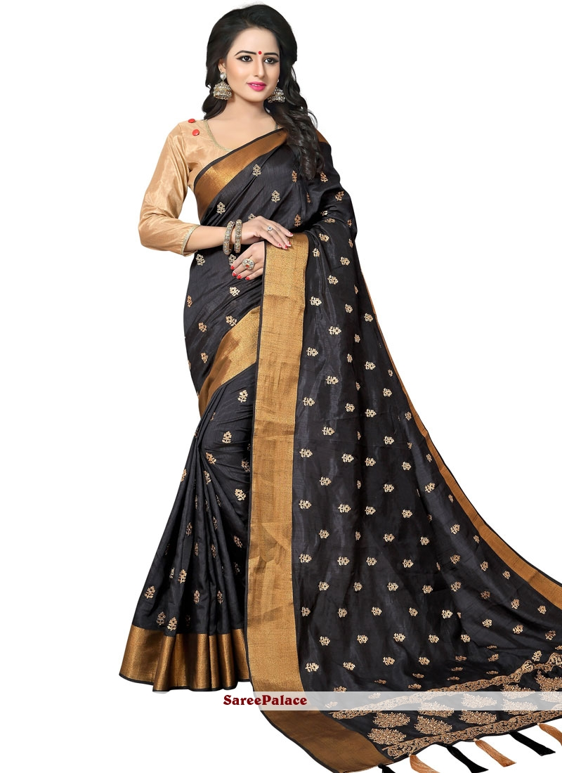 Art Silk Woven Designer Traditional Saree in Black