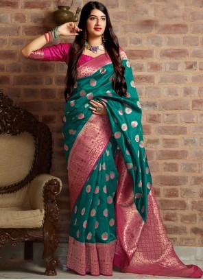 Art Silk Woven Designer Traditional Saree in Sea Green