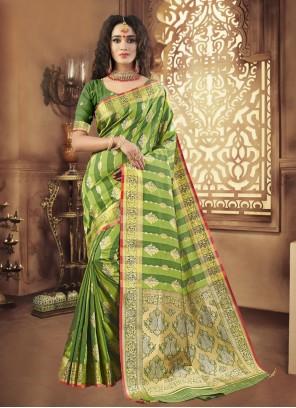 Art Silk Woven Green Designer Traditional Saree