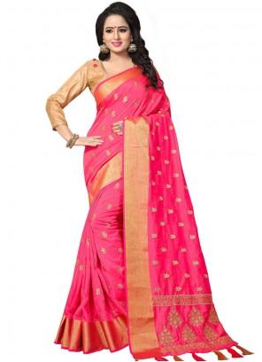 Art Silk Woven Hot Pink Designer Traditional Saree