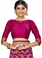 Art Silk Woven Magenta Traditional Designer Saree