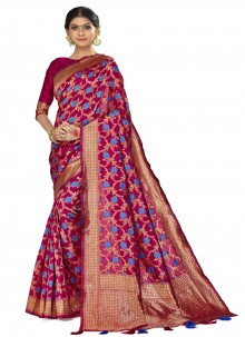 Art Silk Woven Magenta Traditional Designer Saree