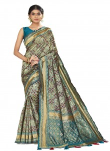Art Silk Woven Multi Colour Designer Traditional Saree