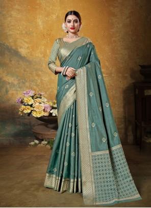 Art Silk Woven Teal Classic Saree