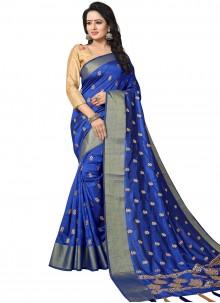 Blue Art Silk Woven Traditional Designer Saree