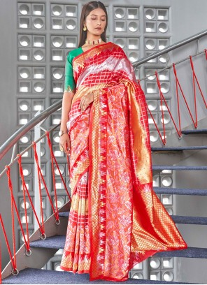 Art Silk Woven Traditional Designer Saree in Red