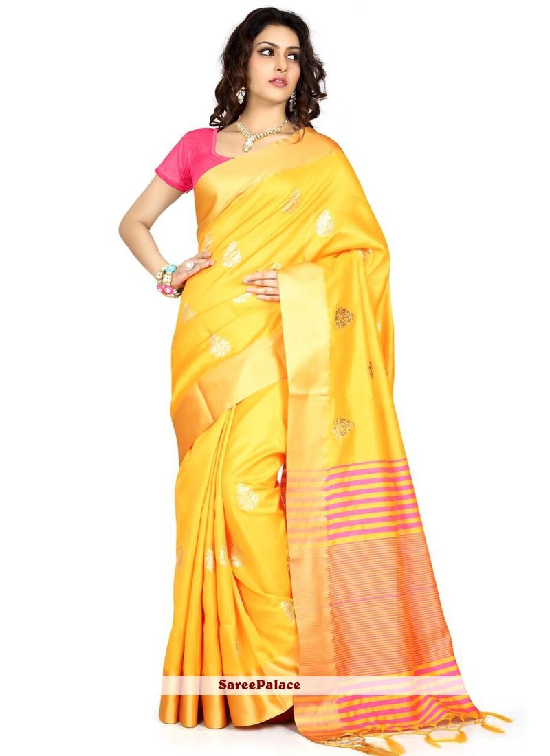 Art Silk Yellow Designer Traditional Saree