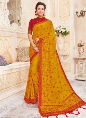 Art Silk Yellow Embroidered Saree
