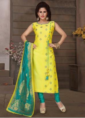 Art Silk Yellow Embroidered Trendy Salwar Suit