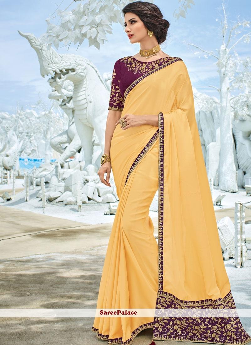 Art Silk Yellow Patch Border Traditional Designer Saree