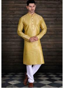 Art Silk Yellow Plain Kurta Pyjama