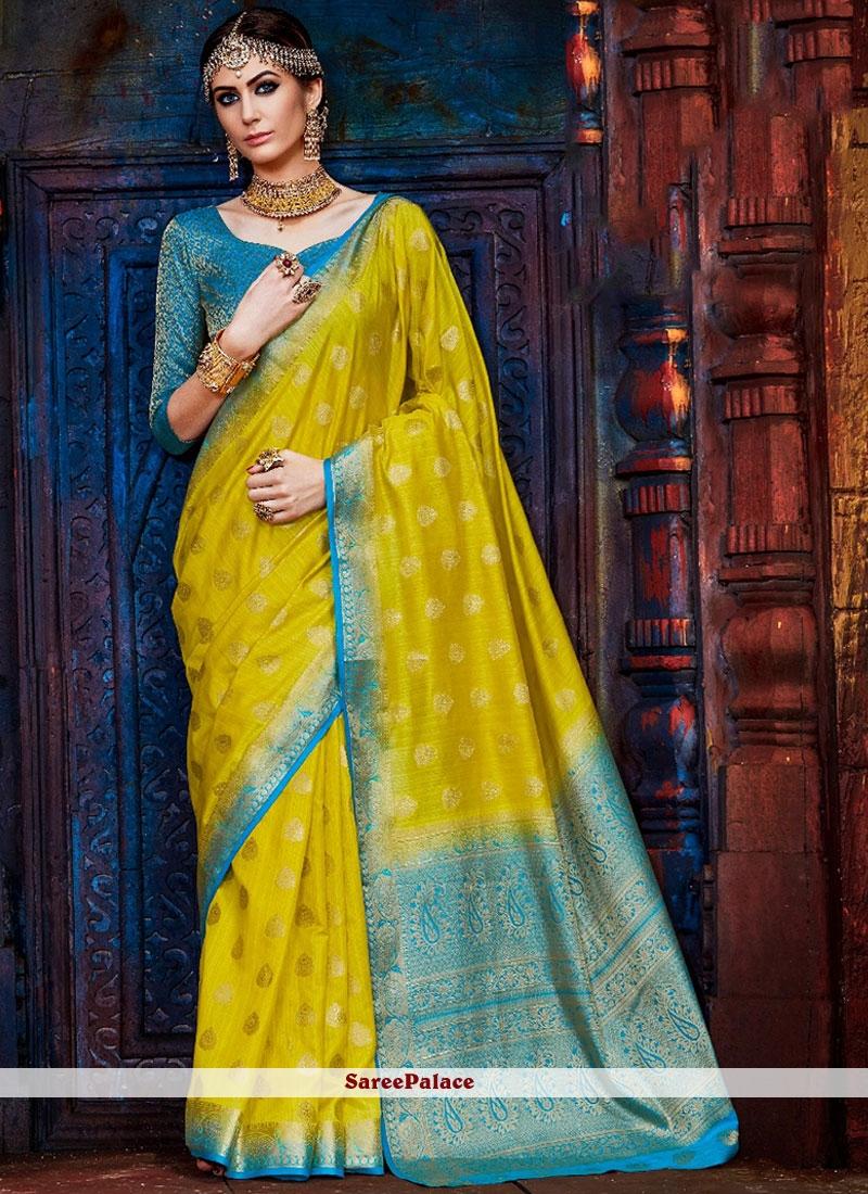 Art Silk Yellow Weaving Work Traditional Designer Saree