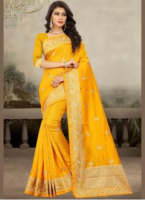 Art Silk Yellow Zari Classic Designer Saree