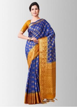 Art Silk Zari Blue Designer Traditional Saree