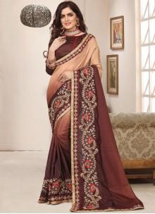 Art Silk Zari Brown Trendy Saree