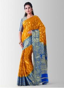 Art Silk Zari Mustard Designer Traditional Saree